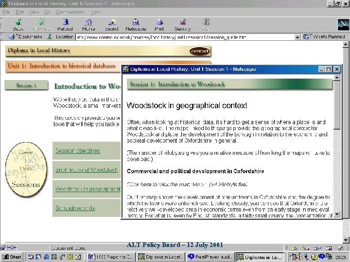 ALT Policy Board – 12 July 2001