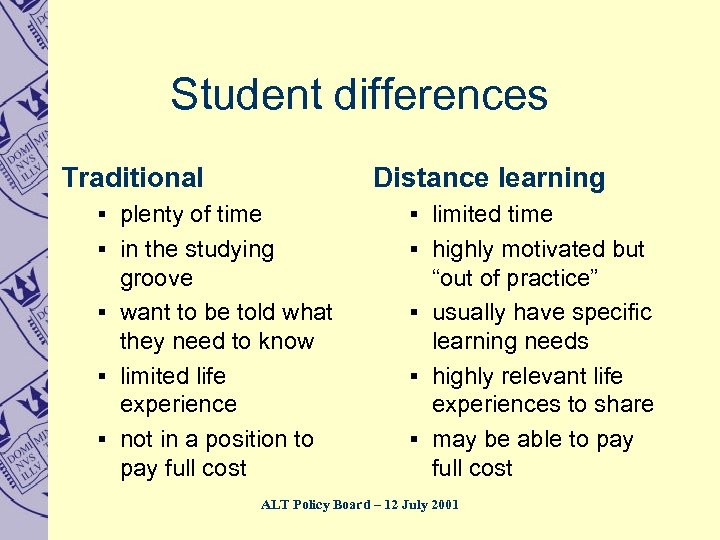 Student differences Traditional Distance learning § plenty of time § limited time § in