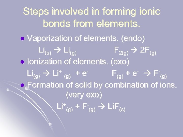 Steps involved in forming ionic bonds from elements. Vaporization of elements. (endo) Li(s) Li(g)