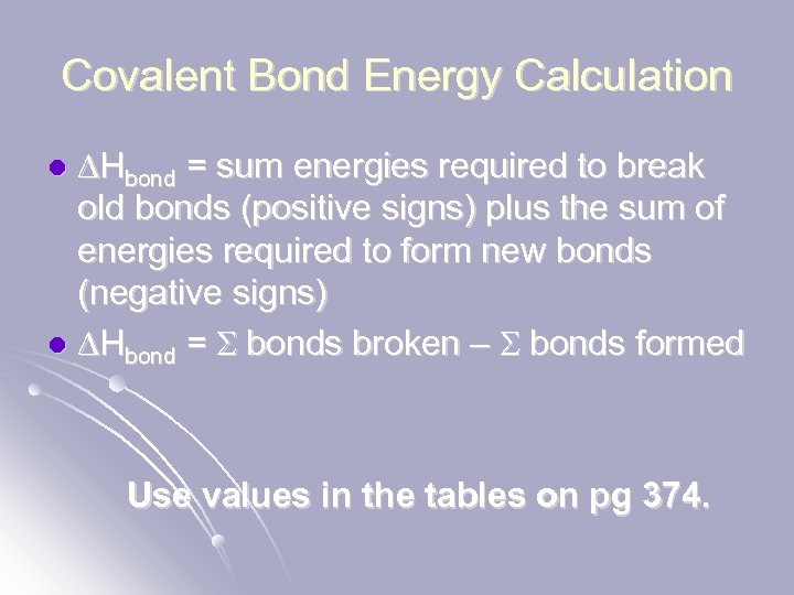 Covalent Bond Energy Calculation DHbond = sum energies required to break old bonds (positive