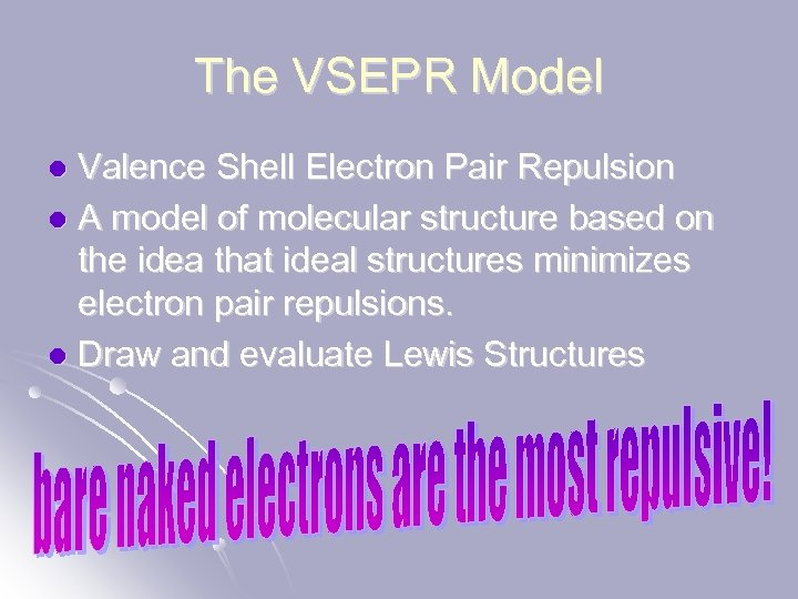 The VSEPR Model Valence Shell Electron Pair Repulsion l A model of molecular structure