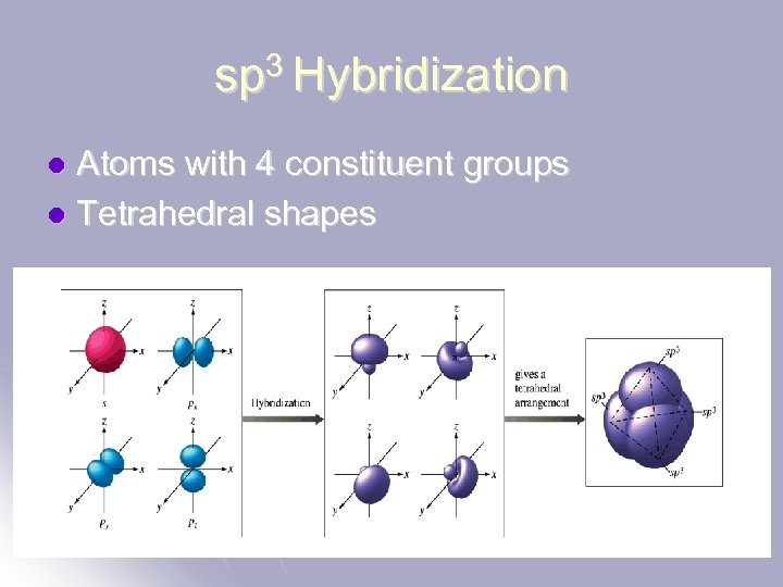 sp 3 Hybridization Atoms with 4 constituent groups l Tetrahedral shapes l