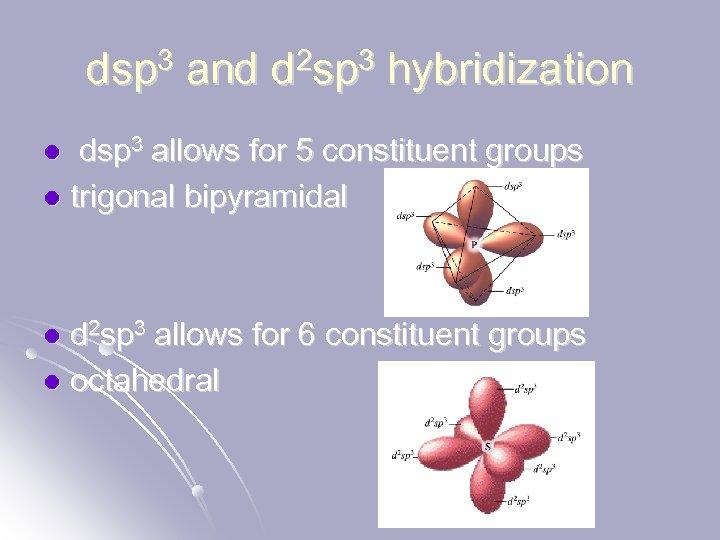 dsp 3 and d 2 sp 3 hybridization dsp 3 allows for 5 constituent