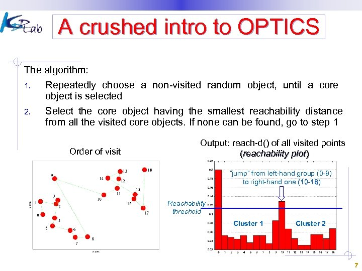 A crushed intro to OPTICS The algorithm: 1. 2. Repeatedly choose a non-visited random