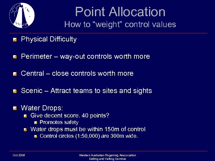 "Point Allocation How to ""weight"" control values Physical Difficulty Perimeter – way-out controls worth"