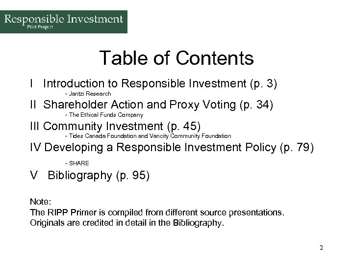 Table of Contents I Introduction to Responsible Investment (p. 3) - Jantzi Research II