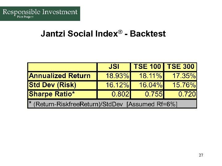 Jantzi Social Index® - Backtest 27