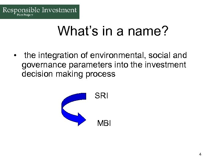 What's in a name? • the integration of environmental, social and governance parameters into