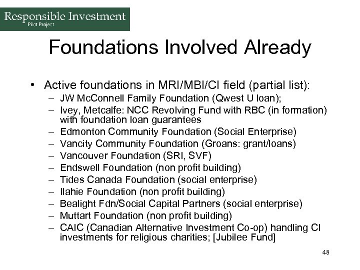 Foundations Involved Already • Active foundations in MRI/MBI/CI field (partial list): – JW Mc.
