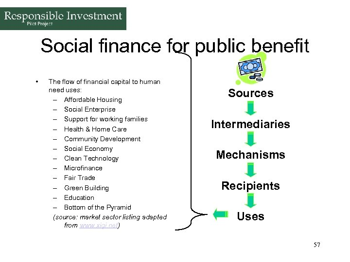 Social finance for public benefit • The flow of financial capital to human need