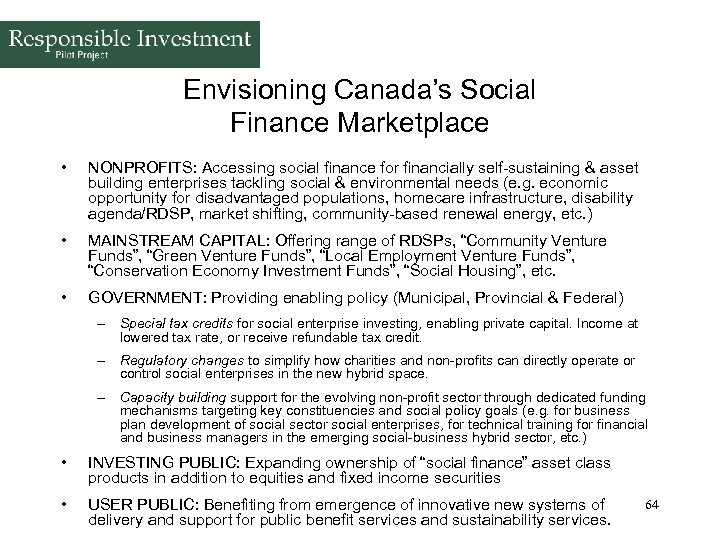 Envisioning Canada's Social Finance Marketplace • NONPROFITS: Accessing social finance for financially self-sustaining &
