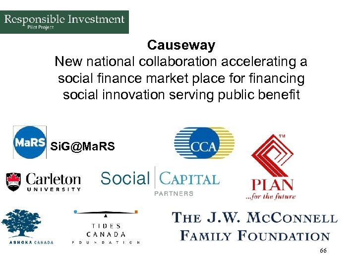 Causeway New national collaboration accelerating a social finance market place for financing social innovation