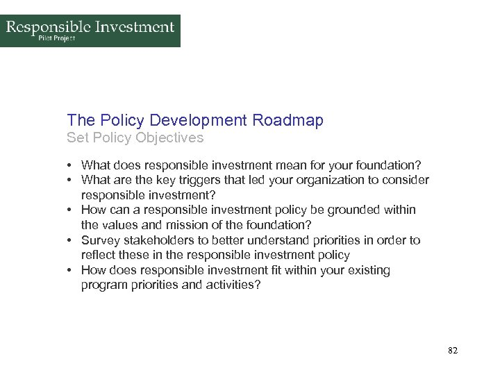 The Policy Development Roadmap Set Policy Objectives • What does responsible investment mean for