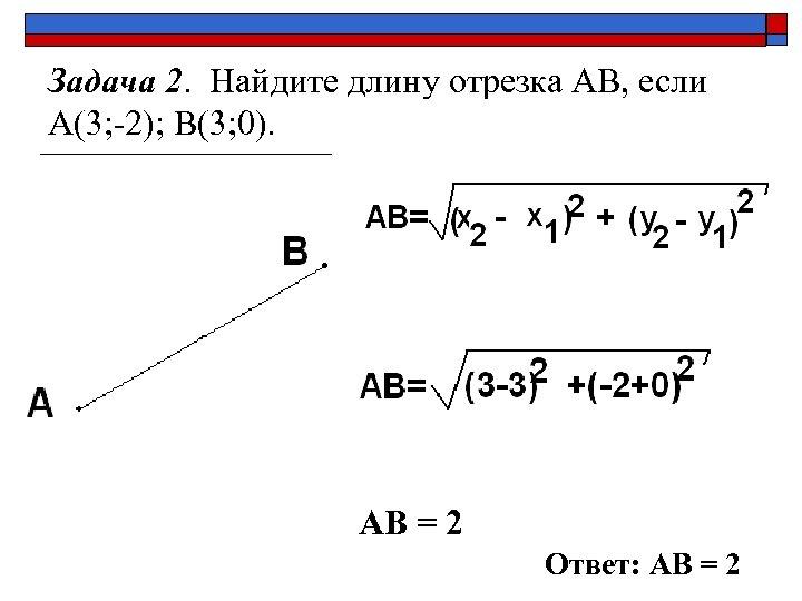 Задача 2. Найдите длину отрезка АВ, если А(3; -2); В(3; 0). АВ = 2
