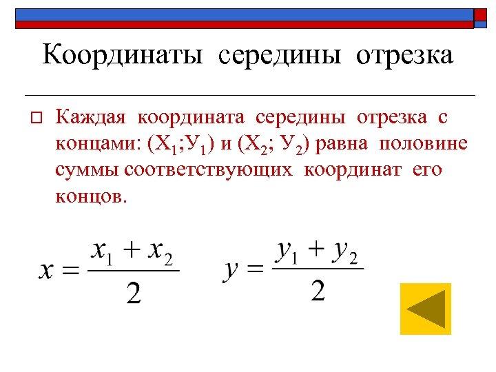 Координаты середины отрезка o Каждая координата середины отрезка с концами: (Х 1; У 1)