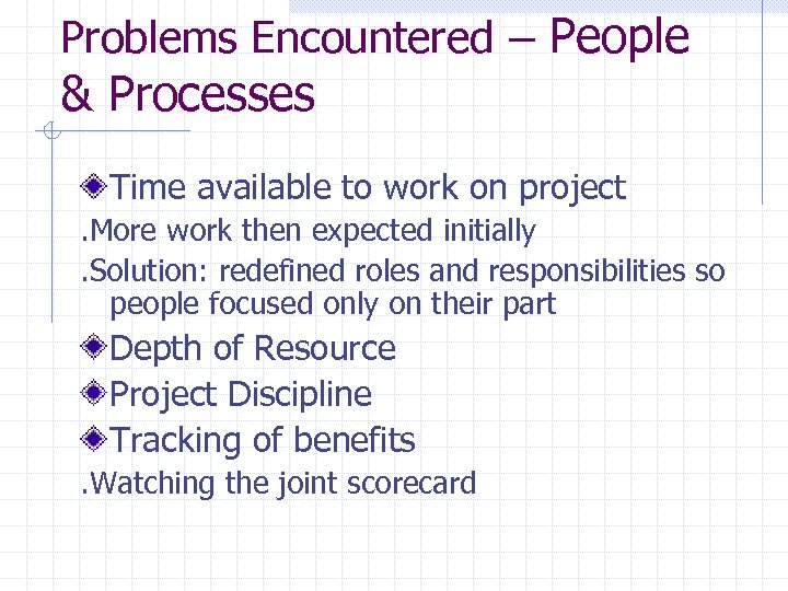 Problems Encountered – People & Processes Time available to work on project. More work