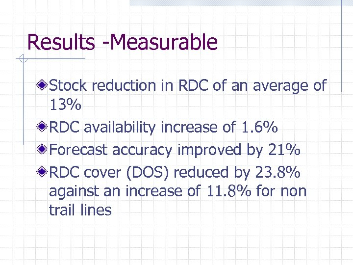 Results -Measurable Stock reduction in RDC of an average of 13% RDC availability increase