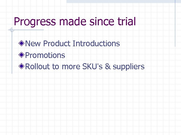 Progress made since trial New Product Introductions Promotions Rollout to more SKU's & suppliers
