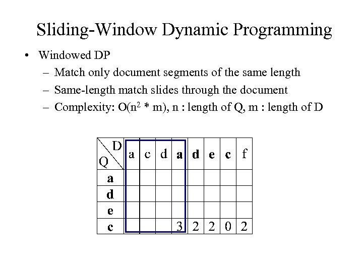 Sliding-Window Dynamic Programming • Windowed DP – Match only document segments of the same