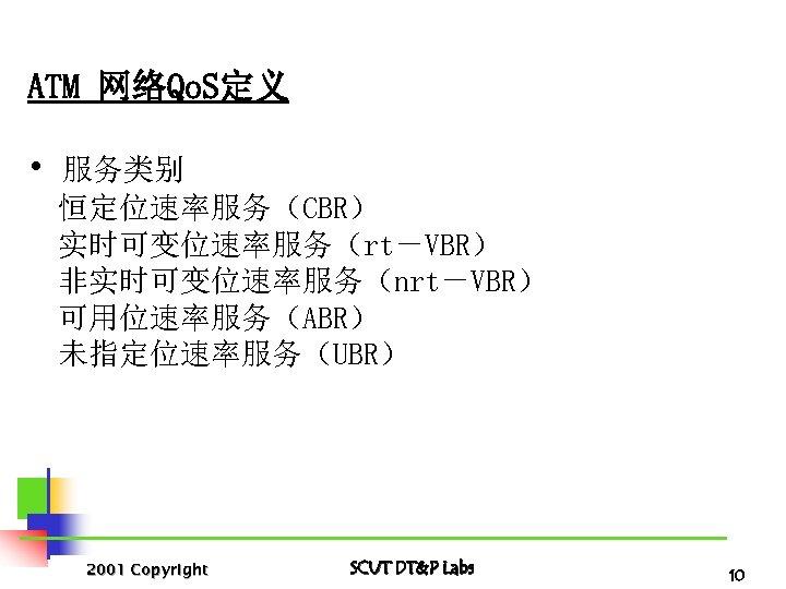 ATM 网络Qo. S定义 • 服务类别 恒定位速率服务(CBR) 实时可变位速率服务(rt-VBR) 非实时可变位速率服务(nrt-VBR) 可用位速率服务(ABR) 未指定位速率服务(UBR) 2001 Copyright SCUT DT&P