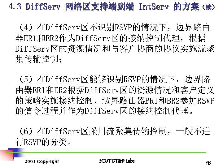 4. 3 Diff. Serv 网络区支持端到端 Int. Serv 的方案(续) (4)在Diff. Serv区不识别RSVP的情况下,边界路由 器ER 1和ER 2作为Diff. Serv区的接纳控制代理,根据