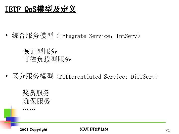 IETF Qo. S模型及定义 • 综合服务模型(Integrate Service:Int. Serv) 保证型服务 可控负载型服务 • 区分服务模型(Differentiated Service: Diff. Serv)