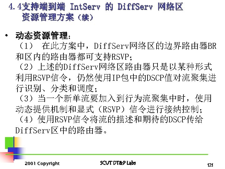 4. 4支持端到端 Int. Serv 的 Diff. Serv 网络区 资源管理方案(续) • 动态资源管理: 动态资源管理 (1) 在此方案中,Diff.