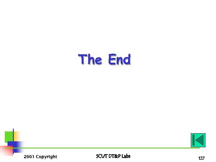 The End 2001 Copyright SCUT DT&P Labs 127