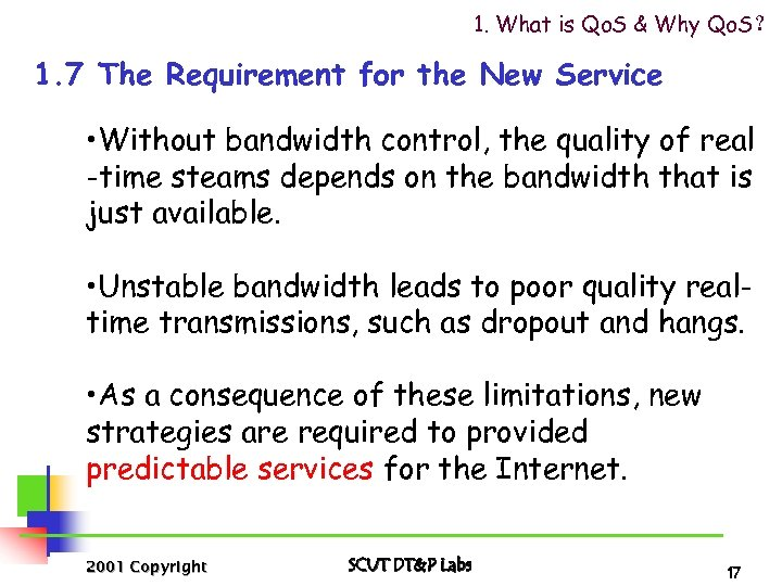 1. What is Qo. S & Why Qo. S? 1. 7 The Requirement for