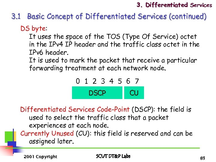 3. Differentiated Services 3. 1 Basic Concept of Differentiated Services (continued) DS byte: It