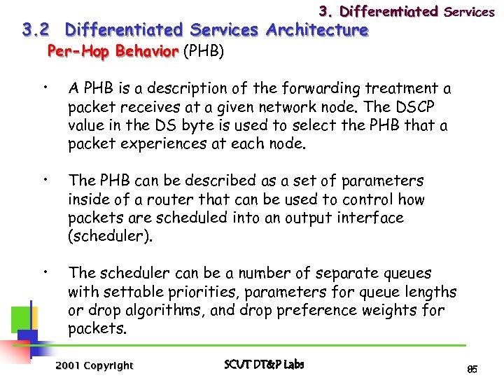 3. Differentiated Services 3. 2 Differentiated Services Architecture Per-Hop Behavior (PHB) • A PHB