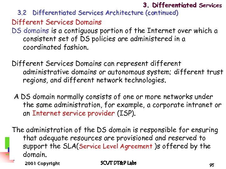 3. Differentiated Services 3. 2 Differentiated Services Architecture (continued) Different Services Domains DS domains
