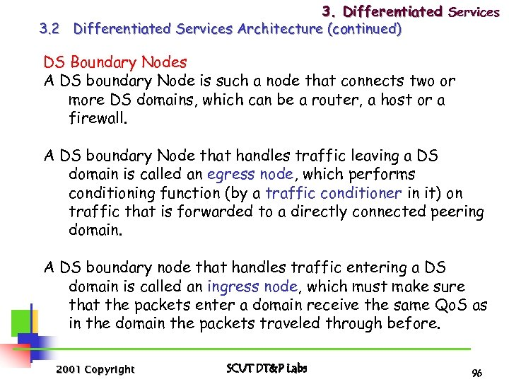 3. Differentiated Services 3. 2 Differentiated Services Architecture (continued) DS Boundary Nodes A DS