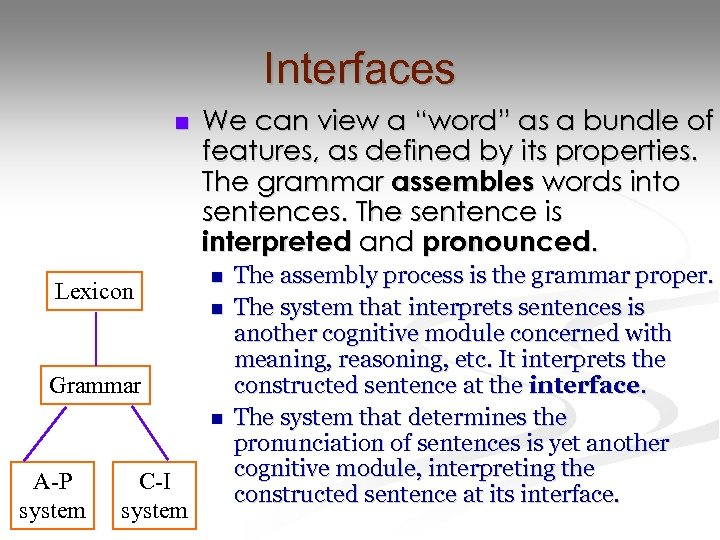 """Interfaces n Lexicon We can view a """"word"""" as a bundle of features, as"""