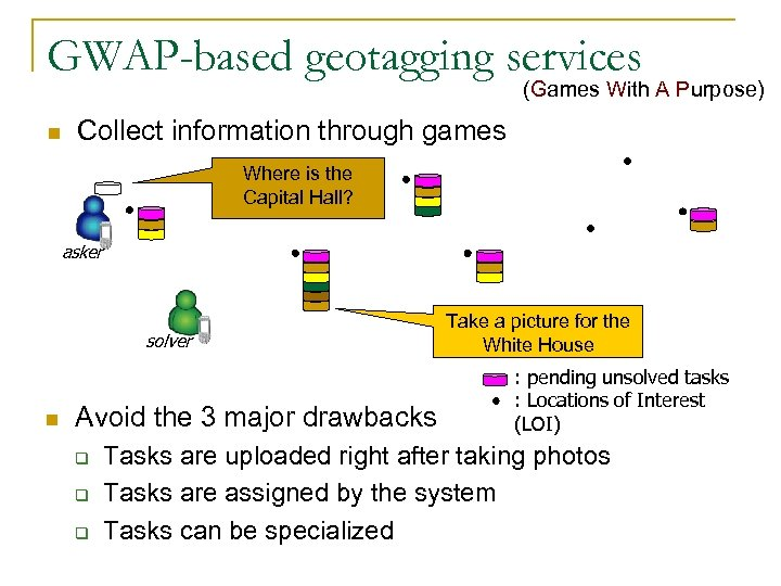 GWAP-based geotagging services (Games With A Purpose) n Collect information through games Where is