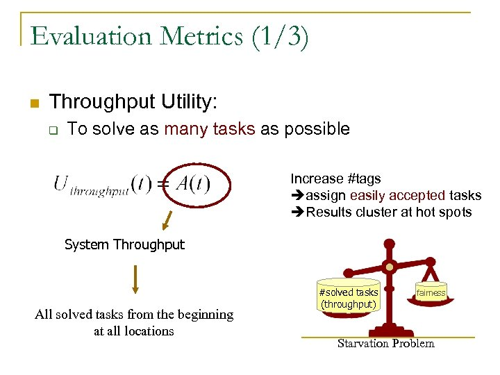 Evaluation Metrics (1/3) n Throughput Utility: q To solve as many tasks as possible