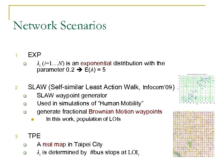 Network Scenarios EXP 1. λi (i=1…N) is an exponential distribution with the parameter 0.