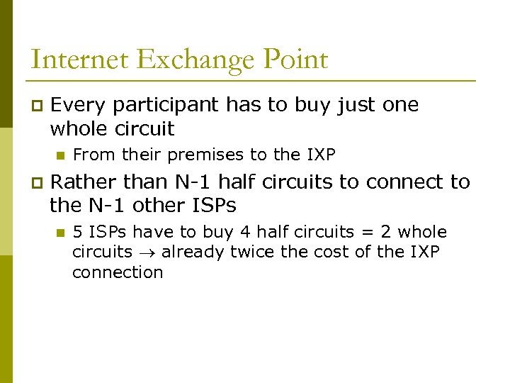 Internet Exchange Point p Every participant has to buy just one whole circuit n