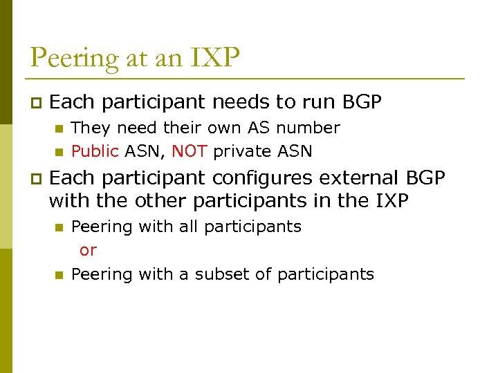 Peering at an IXP p Each participant needs to run BGP n n p