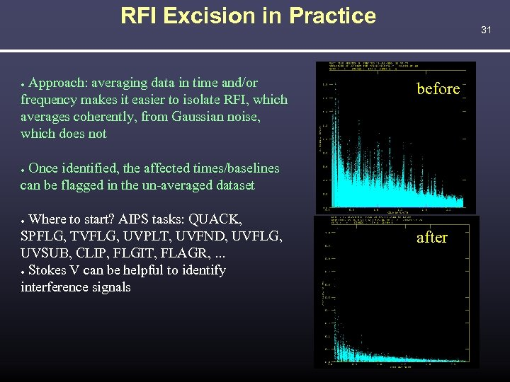 RFI Excision in Practice Approach: averaging data in time and/or frequency makes it easier