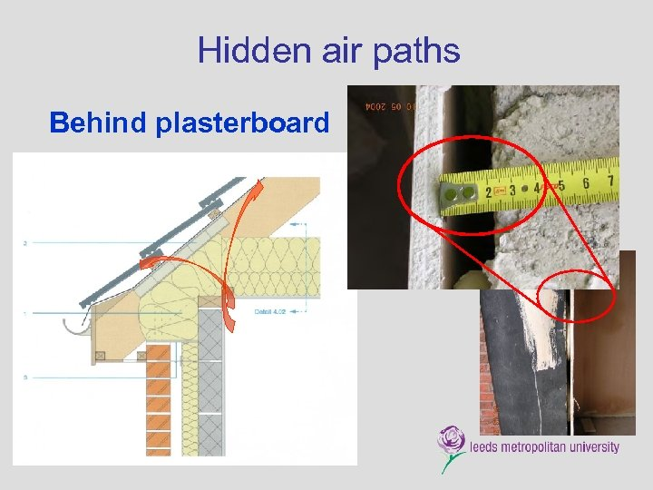 Hidden air paths Behind plasterboard