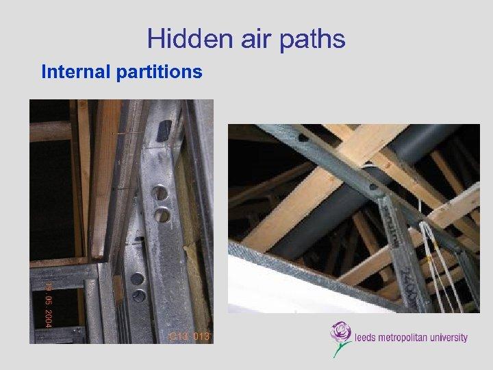 Hidden air paths Internal partitions