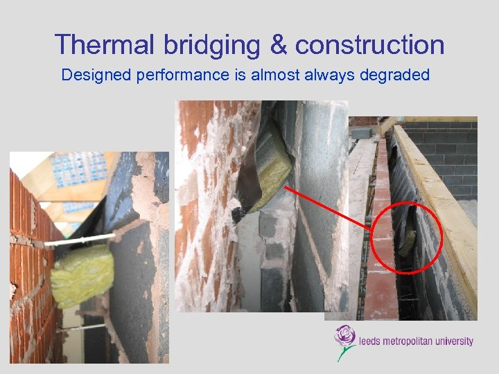 Thermal bridging & construction Designed performance is almost always degraded