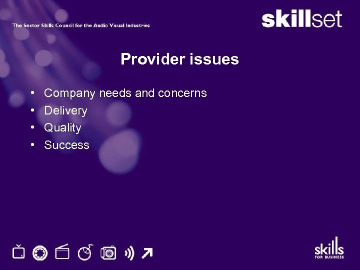Provider issues • • Company needs and concerns Delivery Quality Success