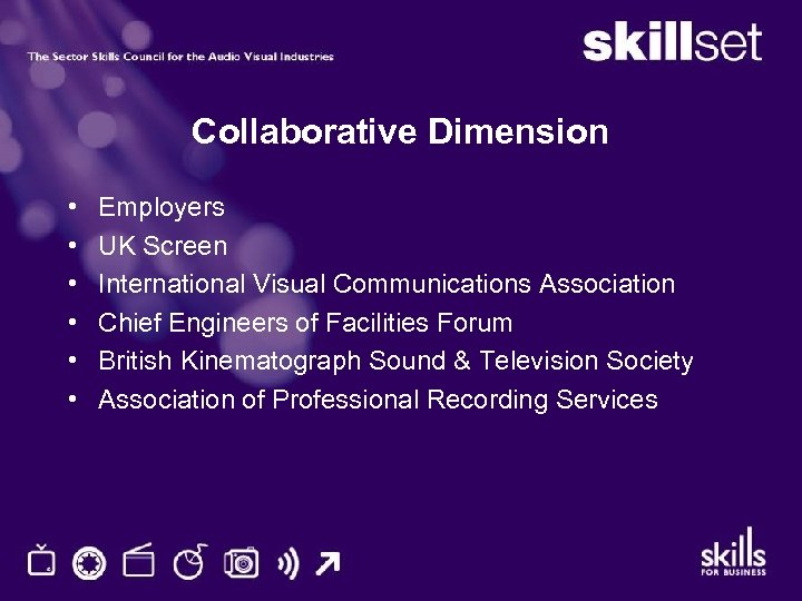 Collaborative Dimension • • • Employers UK Screen International Visual Communications Association Chief Engineers