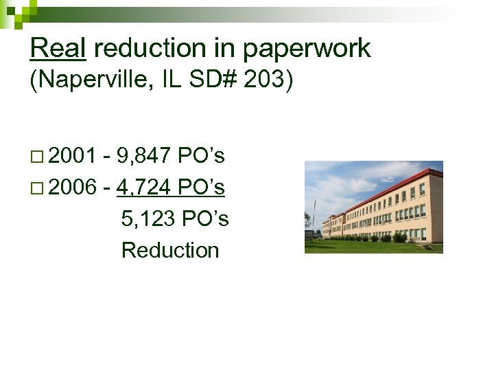 Real reduction in paperwork (Naperville, IL SD# 203) o 2001 - 9, 847 PO's