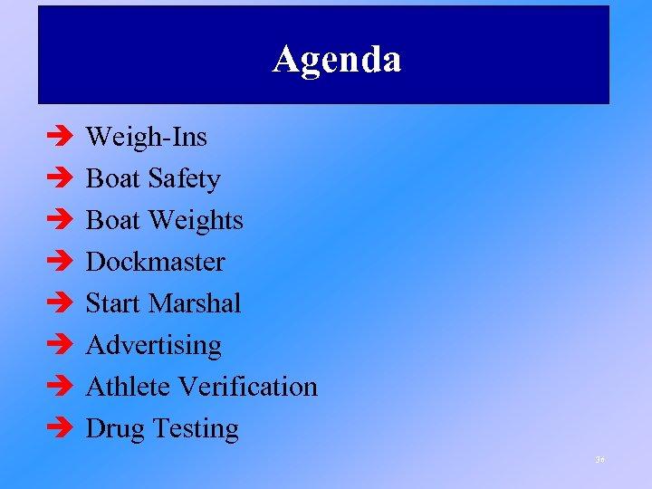 Agenda è è è è Weigh-Ins Boat Safety Boat Weights Dockmaster Start Marshal Advertising
