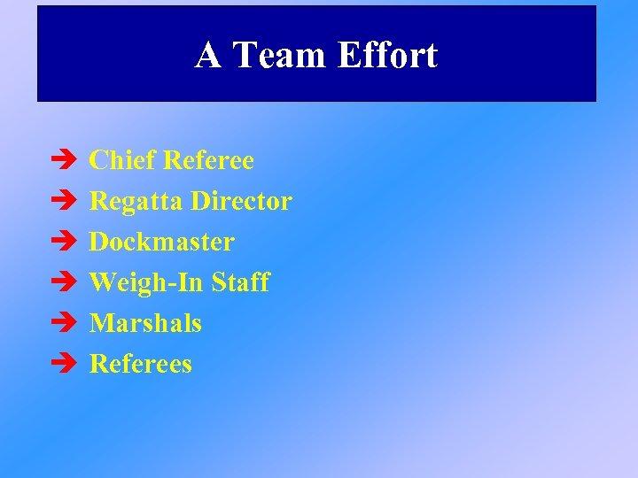 A Team Effort è è è Chief Referee Regatta Director Dockmaster Weigh-In Staff Marshals