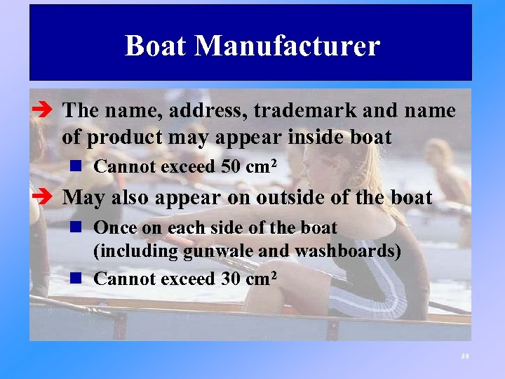 Boat Manufacturer è The name, address, trademark and name of product may appear inside