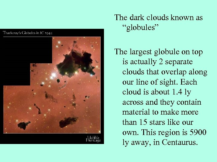 """The dark clouds known as """"globules"""" The largest globule on top is actually 2"""